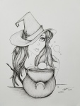 Spell Inktober Day 4 ink drawing by Alecia Goodman