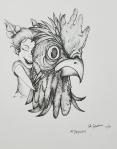 Chicken Inktober Day 5 ink drawing by Alecia Goodman