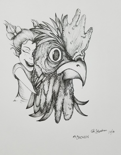 Chicken Inktober Day 5 ink drawing by Alecia Goodman