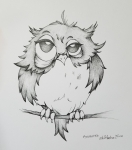Inktober Day 7 Exhausted by Alecia Goodman owl ink drawing 2018