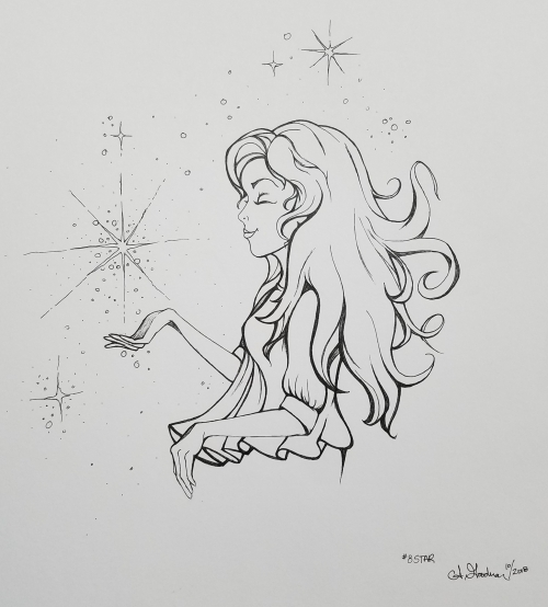 Inktober Day 8 Star ink drawing by alecia goodman 2018 to present