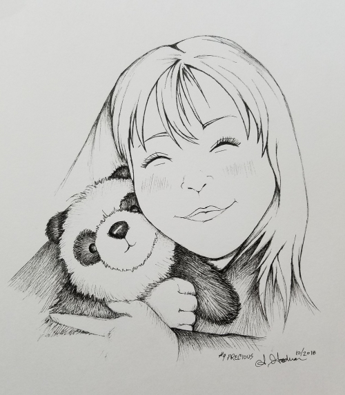 2018 Inktober Day 9 Precious Panda drawing by alecia goodman