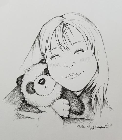 2018 Inktober Day 9 Precious Panda drawing by alecia goodman