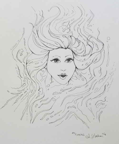 2018 Inktober Day 10 Flowing drawing of girl in water by alecia goodman to present