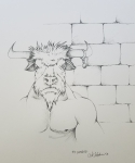 20018 Inktober Day 13 Guarded ink drawing of Minotaur by alecia goodman