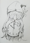 2018 Inktober Day 14 Clock ink drawing of Father Time by alecia goodman
