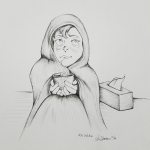 2018 Inktober Day 15 Weak girl with a cold ink drawing by alecia goodman