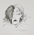 2018 Inktober Day 16 Angular Cruella de Vil ink drawing by alecia goodman