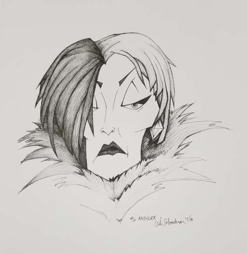 2018 Inktober Day 16 Angular Cruella de Vil ink drawing by alecia goodman