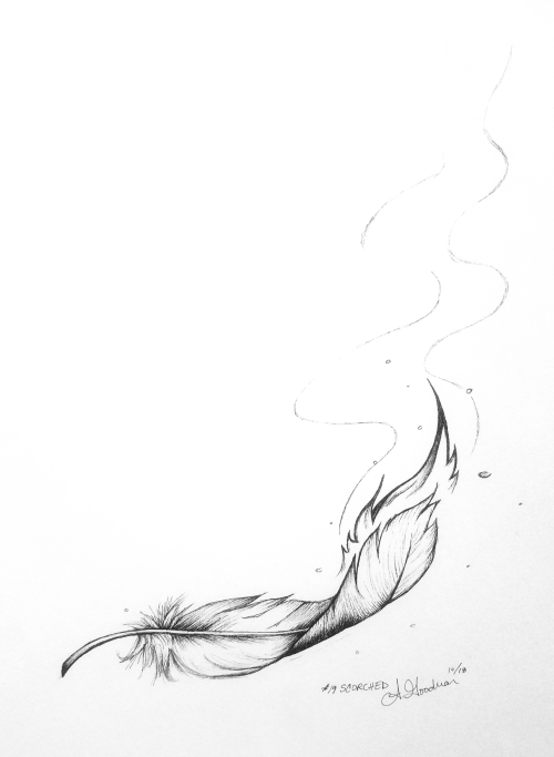 2018 Inktober Day 19 Scorched ink drawing of a burning phoenix feather by alecia goodman