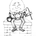 2018 Inktober Day 20 Breakable ink drawing Humpty Dumpty by alecia goodman to present