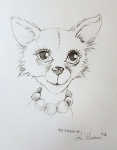 Inktober Day 22 Expensive glamorous chihuahua ink drawing by alecia goodman