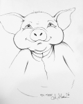 2018 Inktober Day 24 Chop ink drawing of pig in clothes by alecia goodman