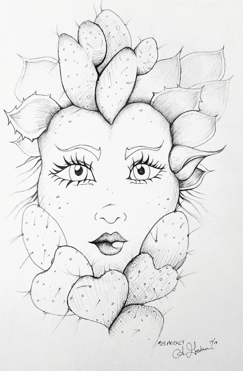 2018 Inktober Day 25 Prickly girl with cactus hair drawing by alecia goodman