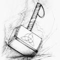 2018 Inktober Day 27 Thunder drawing of Thor's hammer by alecia goodman