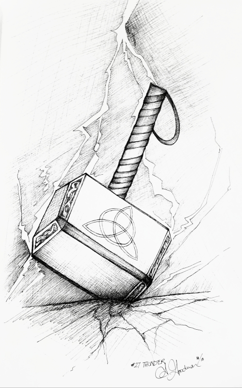 2018 Inktober Day 27 Thunder drawing of Thor's hammer by alecia goodman