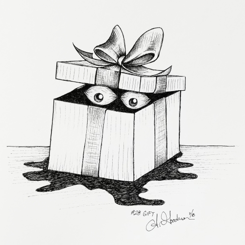 2018 Inktober Day 28 Gift ink drawing of a scary present by alecia goodman