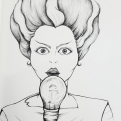 2018 Inktober Day 30 Jolt ink drawing of the Bride of Doctor Frankenstein monster by alecia goodman to present