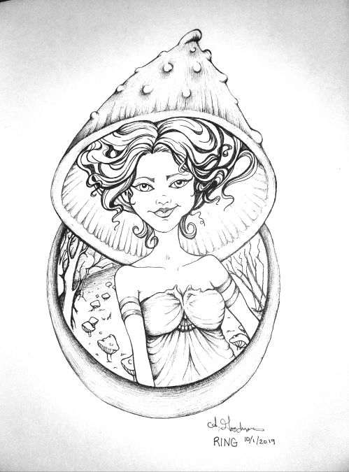 Fairy Ring Ink drawing by Alecia Goodman 2019