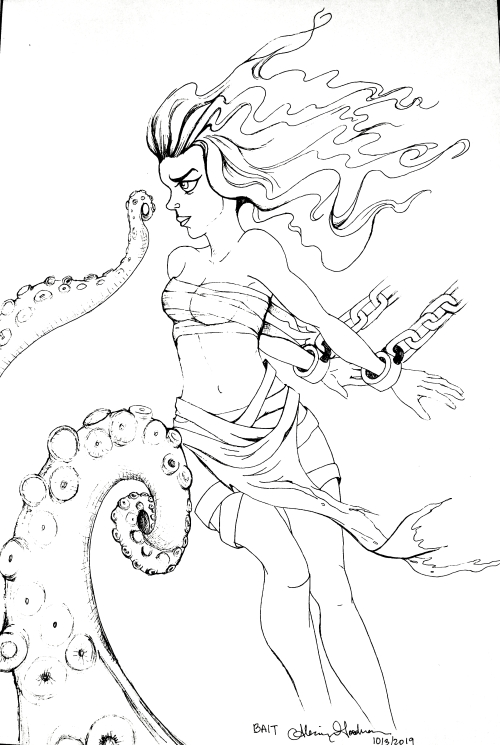 Inktober day 3 drawing of a woman as Bait for Kraken by Alecia Goodman