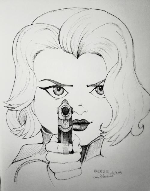 Ink drawing of woman holding gun by Alecia Goodman