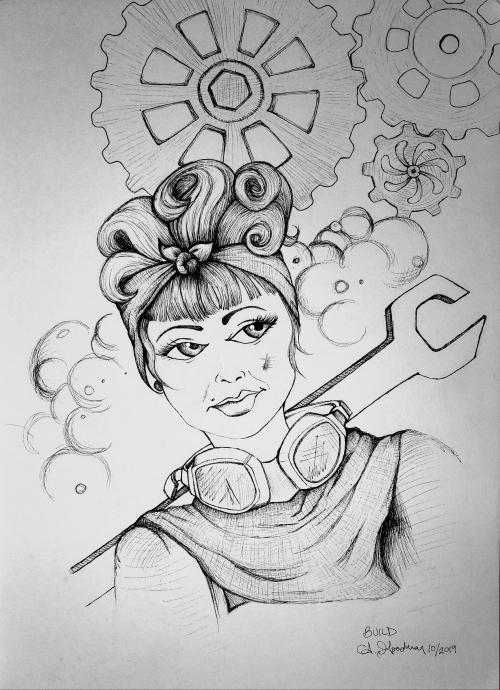 Ink drawing woman mechanic by Alecia Goodman