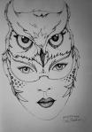 Ink drawing woman wearing owl headdress by Alecia Goodman