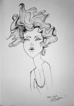 Ink drawing of very thin woman by Alecia Goodman