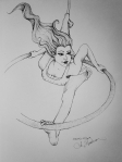 Ink drawing of woman aerial artist by Alecia Goodman