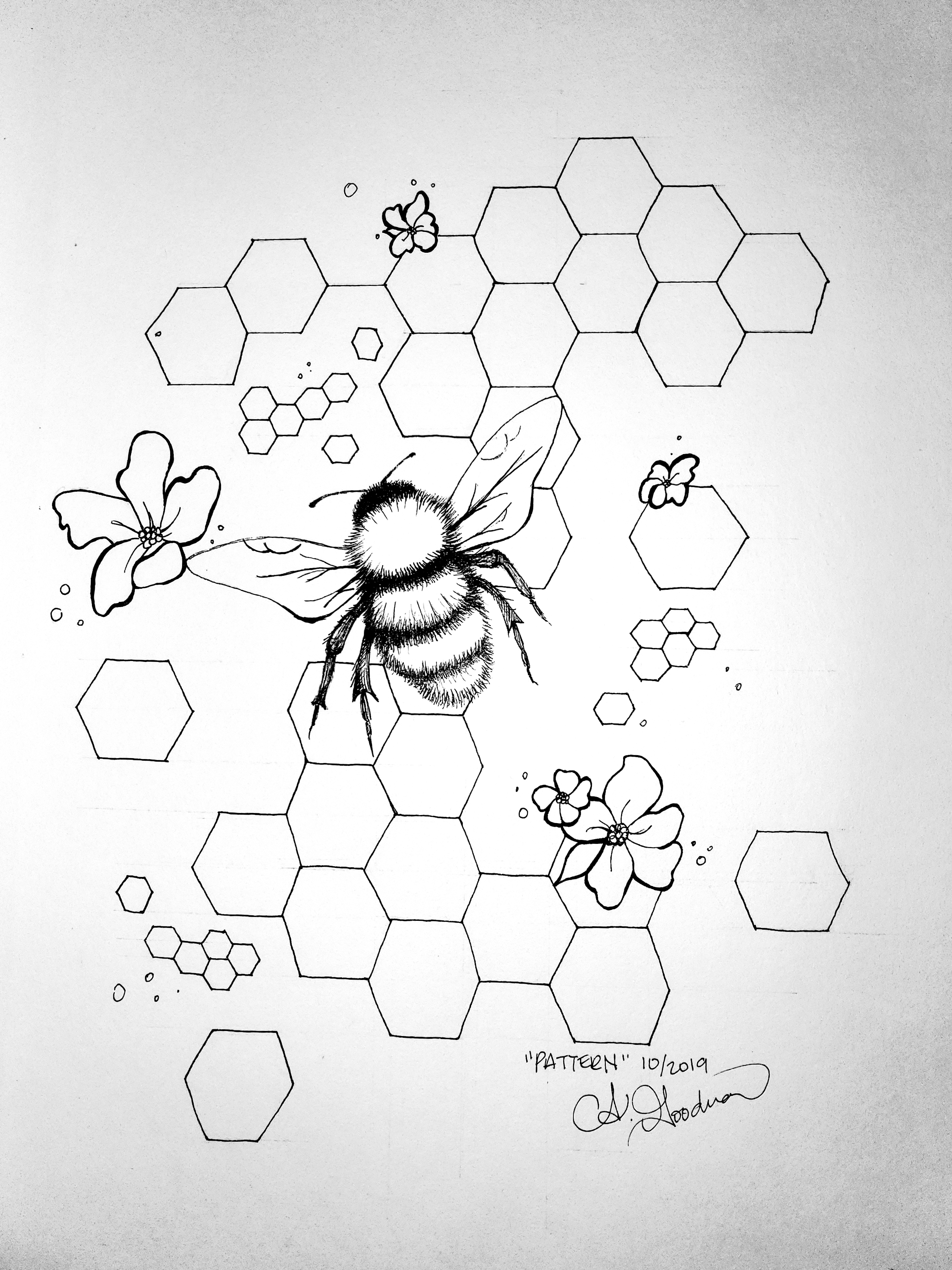 Bee with honeycomb ink drawing by a