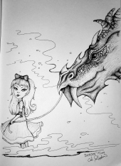 Ink drawing of a girl and dragon by Alecia Goodman