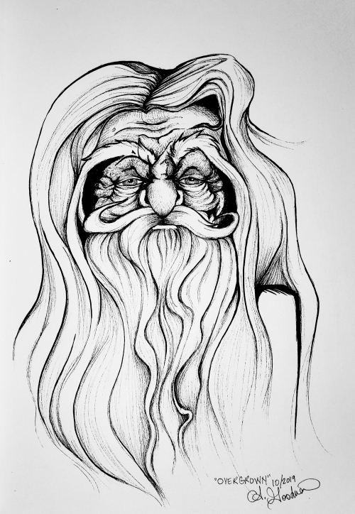 Old man father time ink drawing by Alecia Goodman