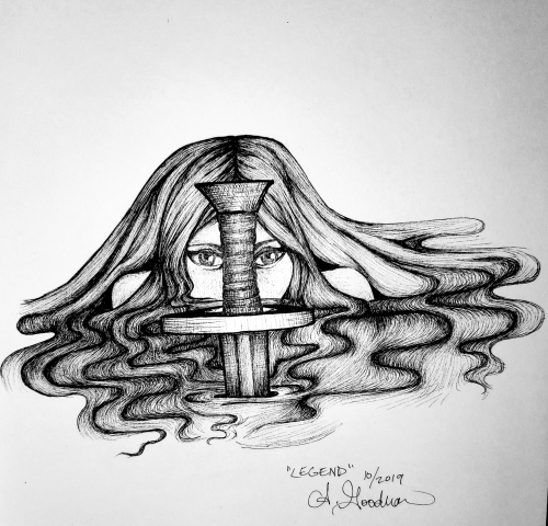 Lady of the lake ink drawing by Alecia Goodman