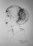 Ink drawing of woman wearing hair ornament by Alecia Goodman