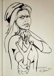 Warrior Woman aiming slingshot ink drawing by Alecia Goodman