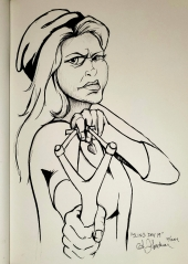 Warrior Woman aiming slingshot ink drawing by Alecia Goodman