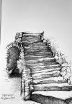 Ink drawing of Staircase ruins in nature by Alecia Goodman