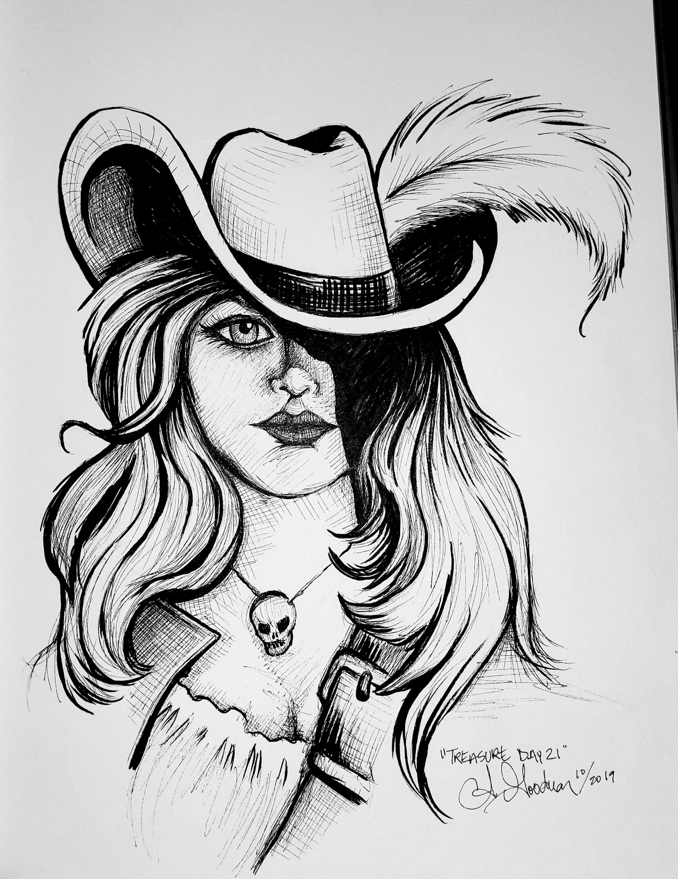 Ink drawing of pirate woman by Alecia Goodman