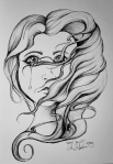 Ink drawing of woman crying and hair embracing her face by Alecia Goodman