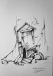 Ink drawing of crumbling ruins by Alecia Goodman