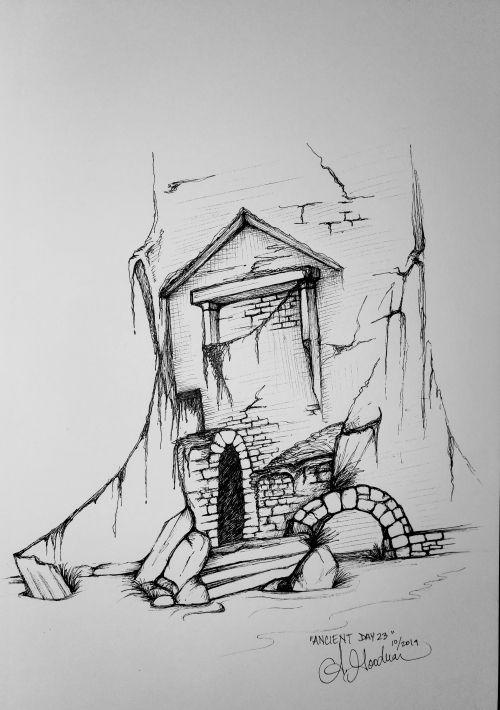 Ink drawing of crumbling ruins by Alecia Goodman