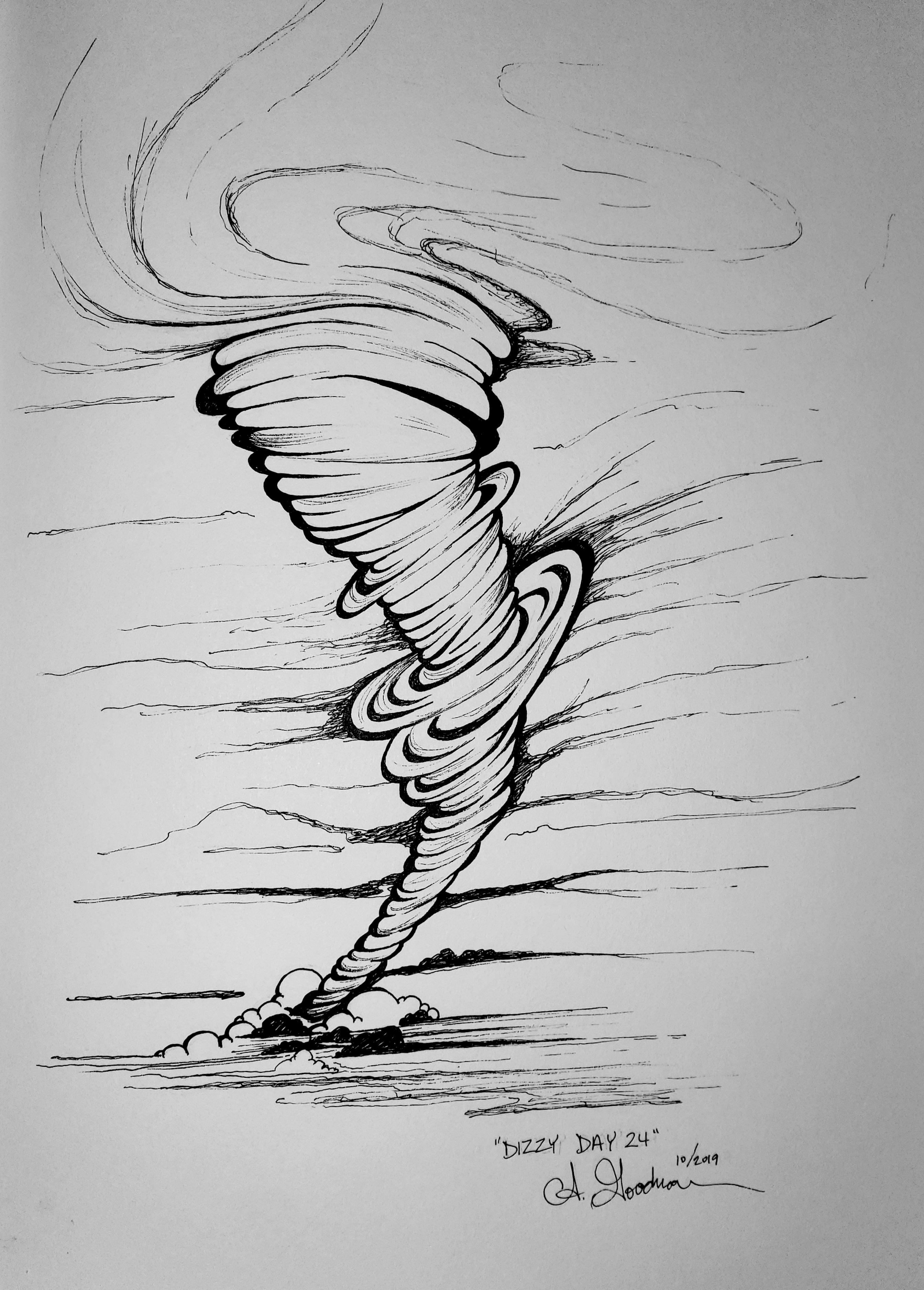 Ink drawing of Dizzy Tornado by Alecia Goodman