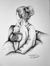 Ink drawing of woman cozy in a blanket drinking tea looking away with messy bun by Alecia Goodman