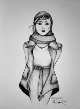 Woman wearing open coat, cowl, and beanie ink drawing by Alecia Goodman