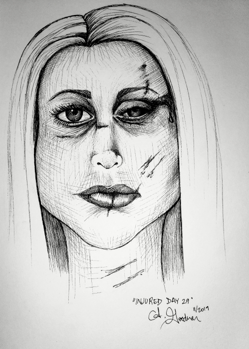 Ink drawing of a beaten woman's face by Alecia Goodman