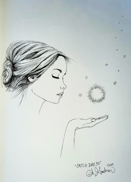 Ink drawing of woman catching a light by Alecia Goodman