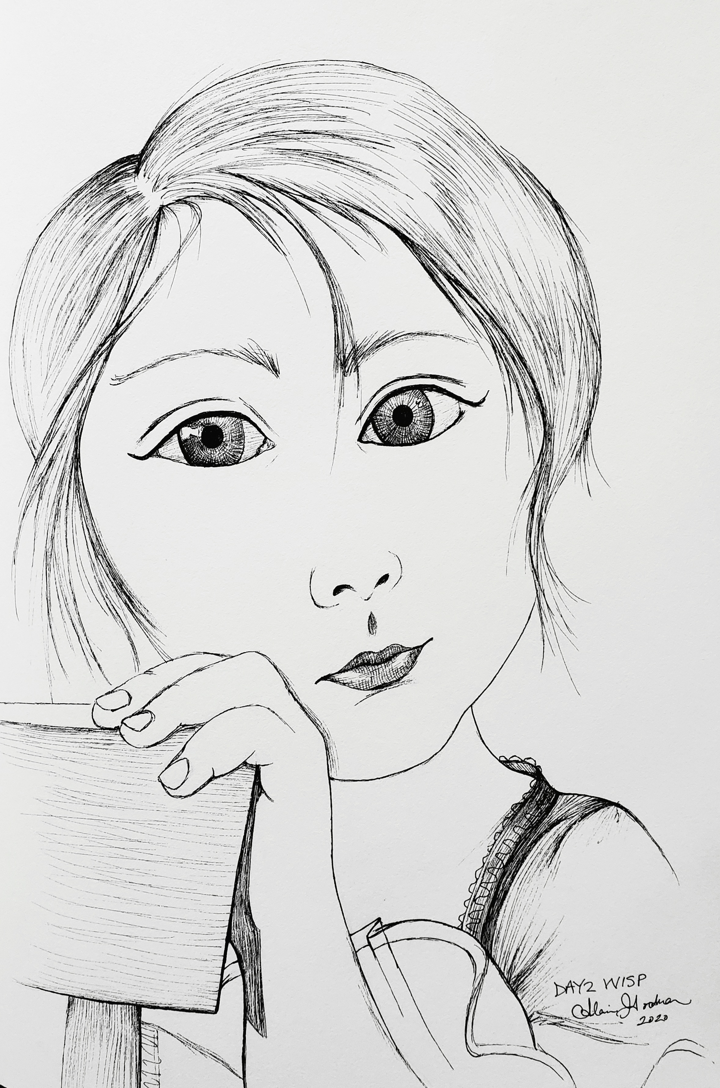 Ink drawing of girl by Alecia Goodman 2020