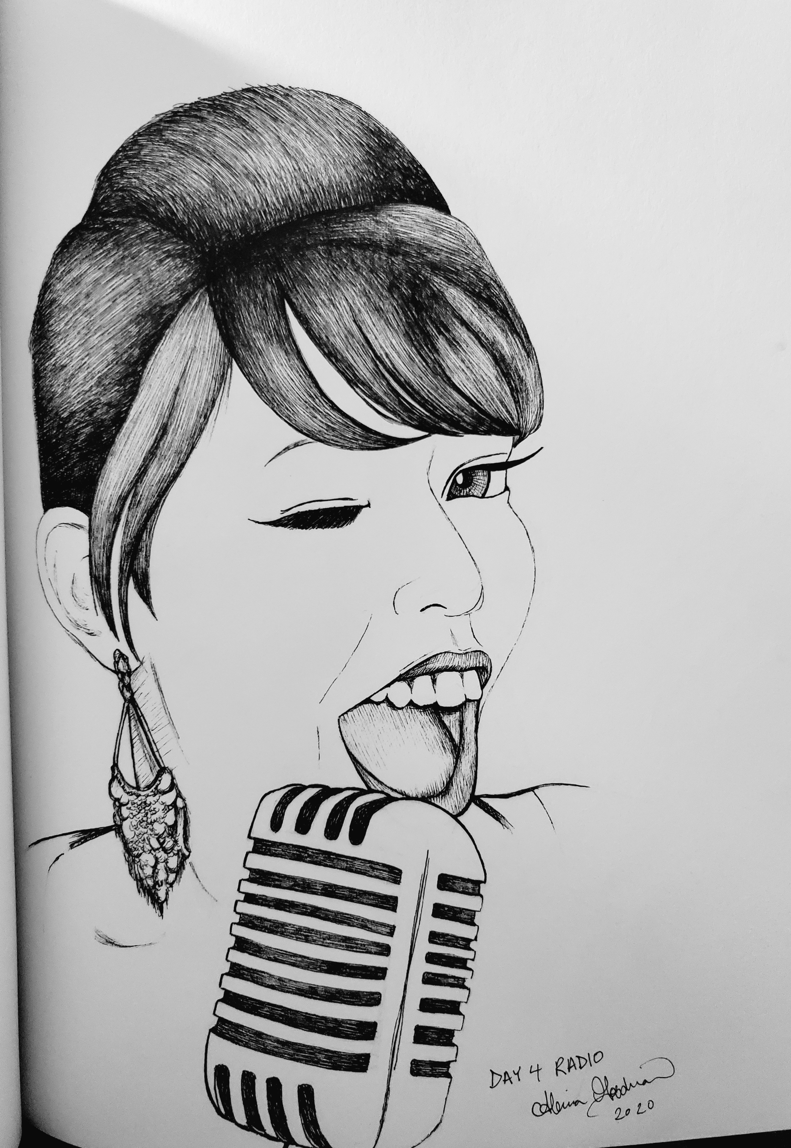 Inktober Day 4 Radio 2020 vintage microphone woman singing ink drawing by alecia goodman to present