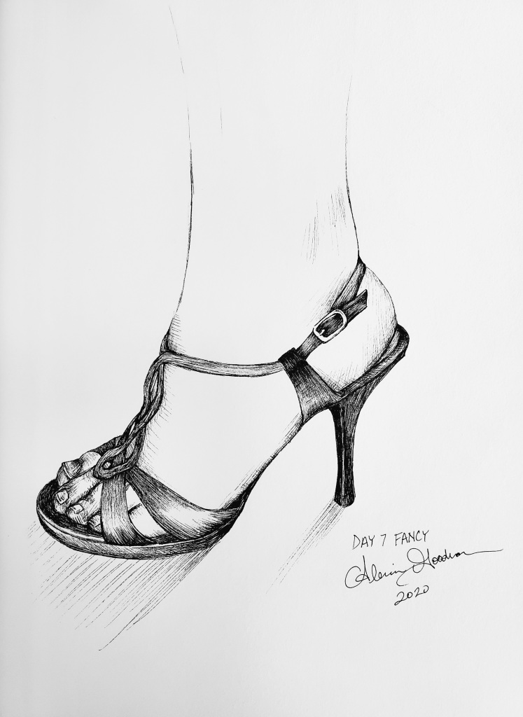 Inktober Day 7 Fancy high heel ink drawing by alecia goodman 2020 to present