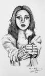 Inktober Day 10 Hope ink drawing of woman holding sparkler by alecia goodman 2020 to present